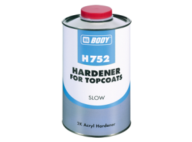 Slow isocyanate hardener for 2K acrylic paints and 2K clear coats.