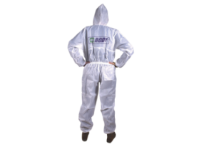 White silky antistatic overall ideal for use in the spraybooth during the paint procedures