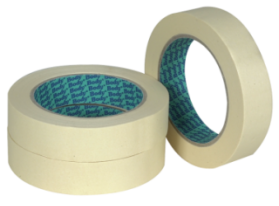 Self adhesive masking tape based on impregnated, waterproof, low crepe paper